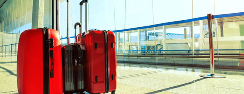 Red suitcases in the airport