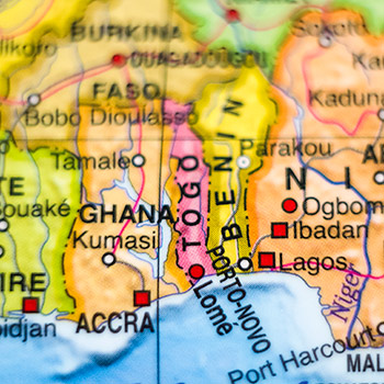 Spotlight story image pertaining to Ghana on a map