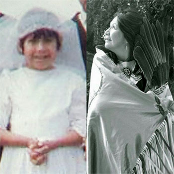Spotlight story image pertaining to Vivian Timmins as a student at St. Anne's residential school (left); in her regalia (right).