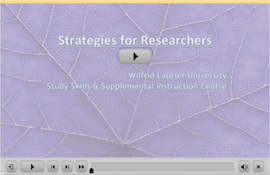 Strategies for Researchers Webinar screen capture