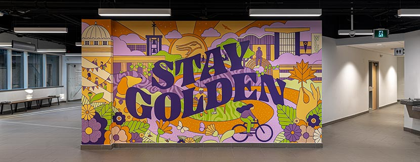 Stay Golden mural at the Welcome Centre