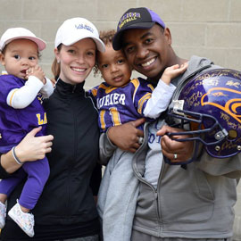 family wearing Laurier gear