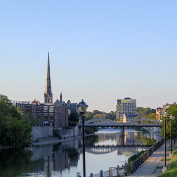 View of Grand River in downtown Cambridge