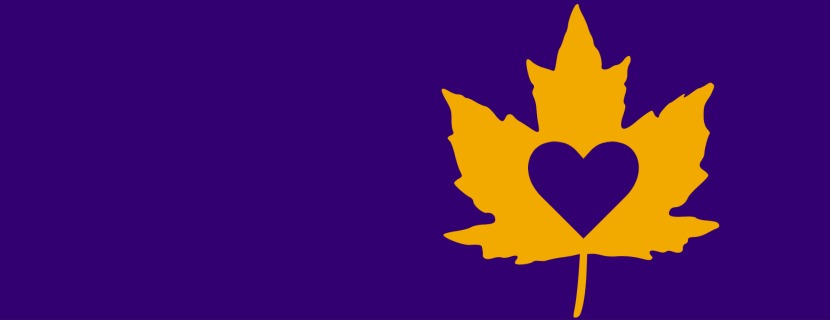 maple leaf with heart cutout graphic