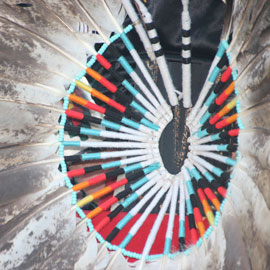 Close up of feather and beads
