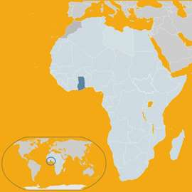 Spotlight story image pertaining to Map of Africa with Ghana highlighted