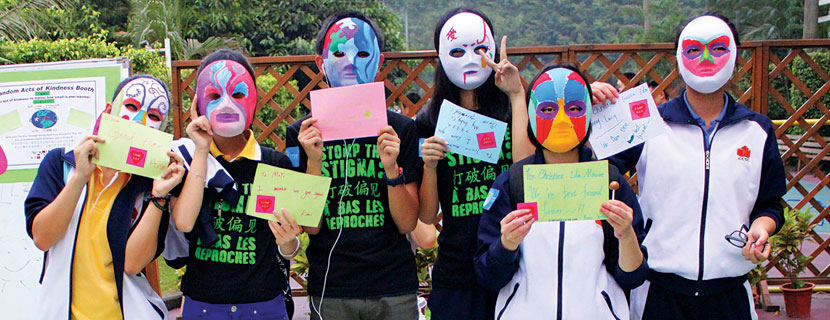 Chinese students wearing masks