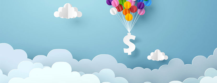 Dollar sign floating in clouds with balloons.