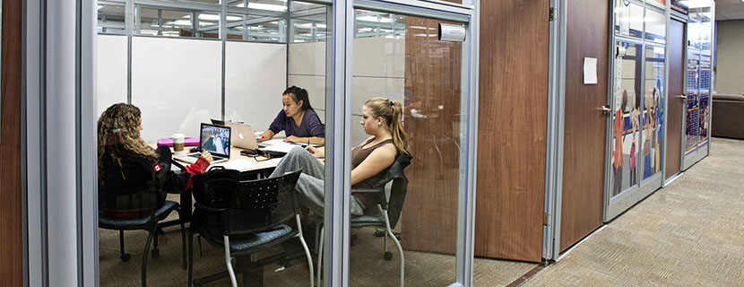 students in a booked study room