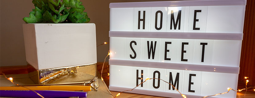 Marquee light with Home Sweet Home message