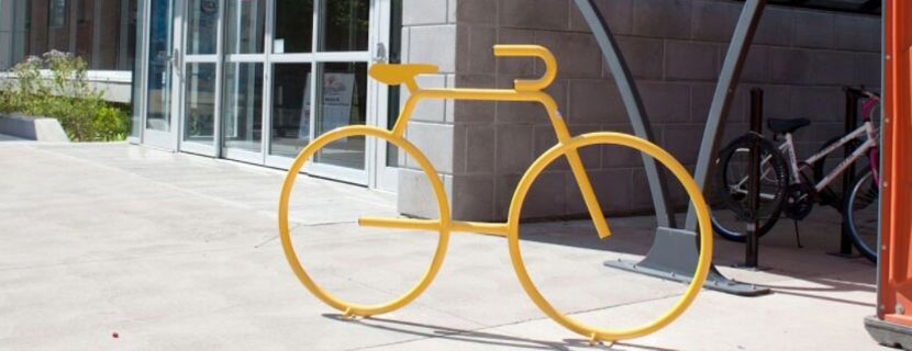 Yellow bike rack outside of FNCC.