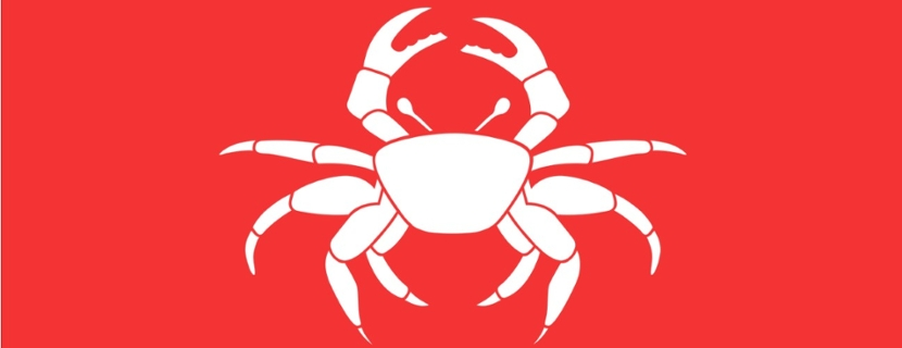 white crab on red background